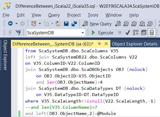 Изменение полей в таблицах БД iScala 3.5 по сравнению с iScala 2.2