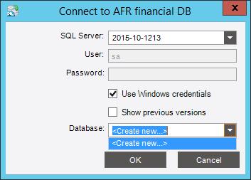 В появившемся окне в поле «Database» выберите «Create new…»