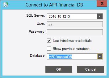 Введённое имя базы данных появится в поле «Database». Нажмите кнопку «OK»