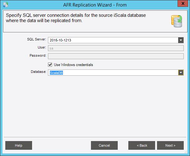Выберите базу данных исходной системы («ScalaDB»)