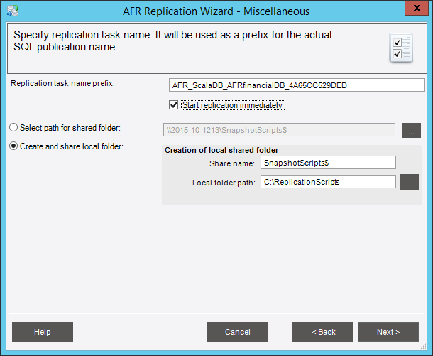 После возвращения в окно «Miscellaneous» установите флажок «Start replication immediately» и нажмите «Next»