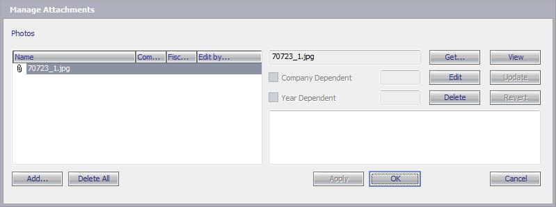 Окно управления прикреплёнными файлами: