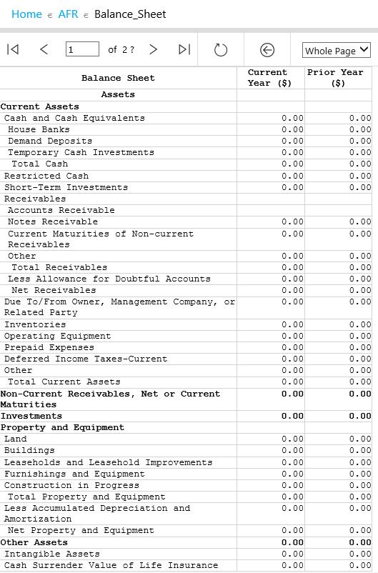 Примеры отчётов AFR / AFR Report examples: Balance Sheet
