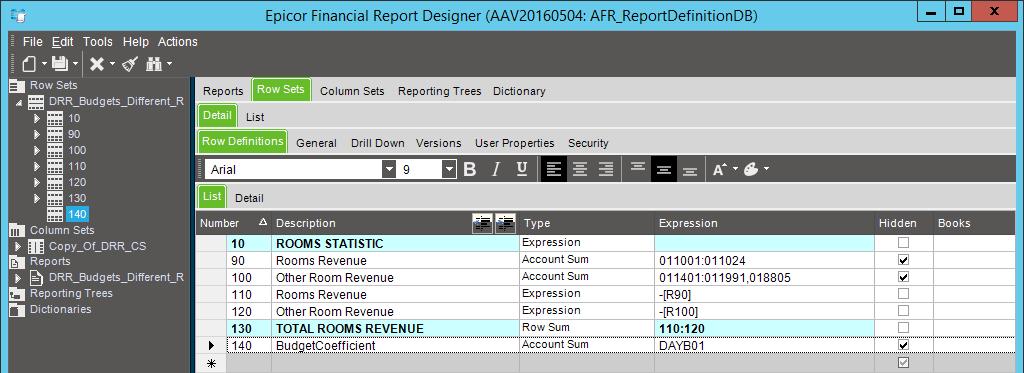 Набор строк AFR отчёта