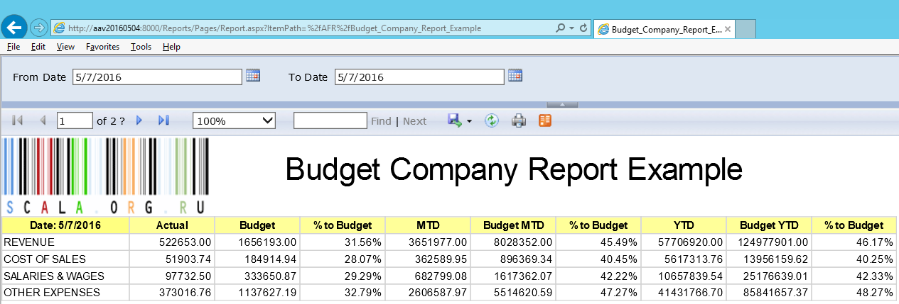 Budget Company Report Example