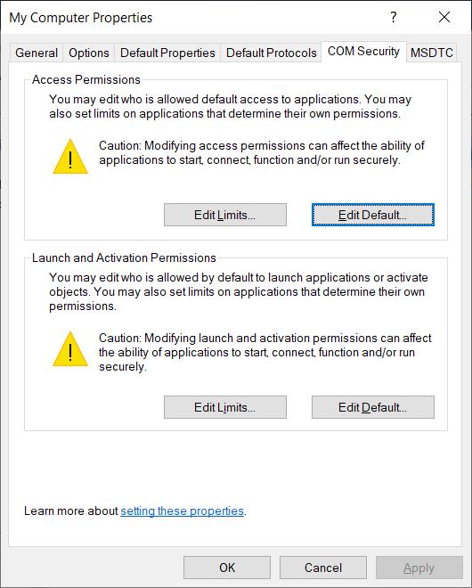 На закладке COM Security в разделе Access Permissions нажмите на кнопку Edit Default