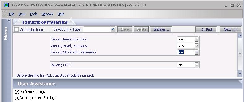 Параметры процедуры обнуления статистики