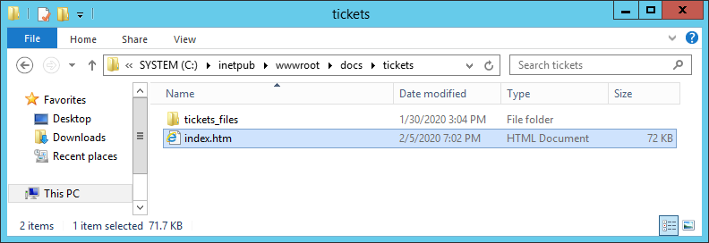 Папка с файлами на веб сервере