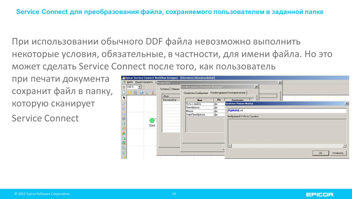 При использовании обычного DDF файла невозможно выполнить некоторые условия, обязательные, в частности, для имени файла. Но это может сделать Service Connect после того, как пользовательпри печати документасохранит файл в папку,которую сканирует Service Connect