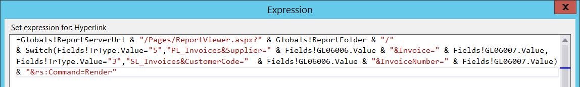 Построитель выражения для формирования динамического URL подотчёта