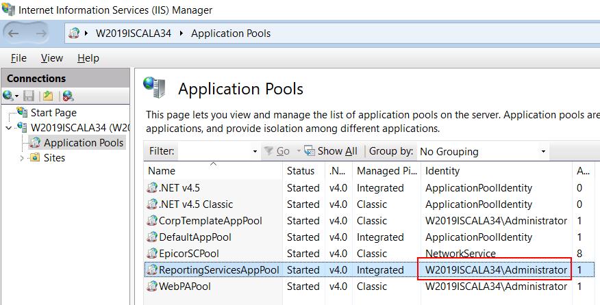 После этого необходимо проделать те же самые действия для пользователя, от имени которого работает механизм новой отчётности в iScala 3.4 или iScala 3.5. Для того, чтобы выяснить, кто же этот пользователь, войдите в IIS Manager и посмотрите на ReportingServicesAppPool
