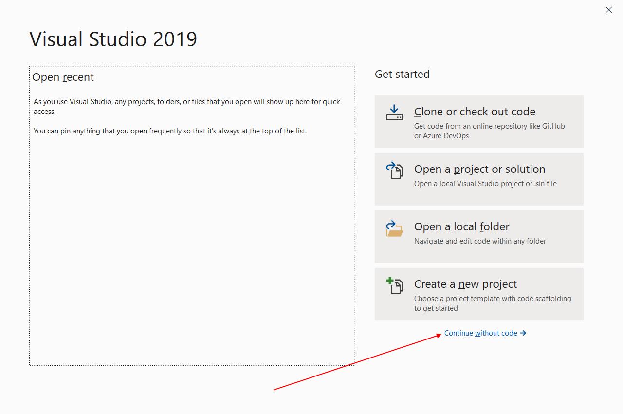 """В следующем окне не выбирайте никакое действие, нажмите на ссылку """"Continue without code"""""""