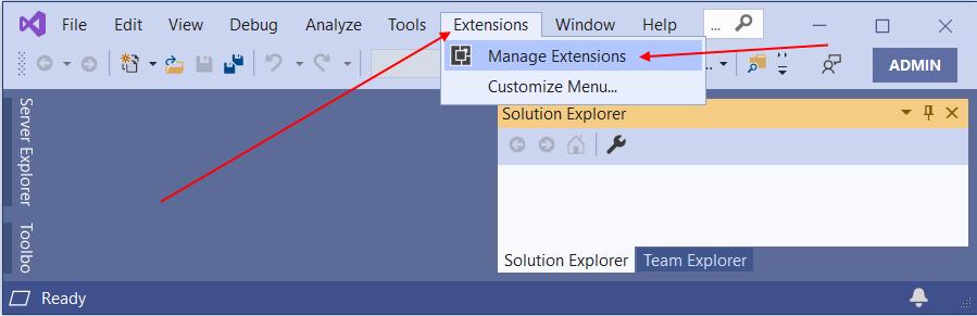 """В окне редактора перейдите в меню """"Extensions -> Manage Extensions"""""""