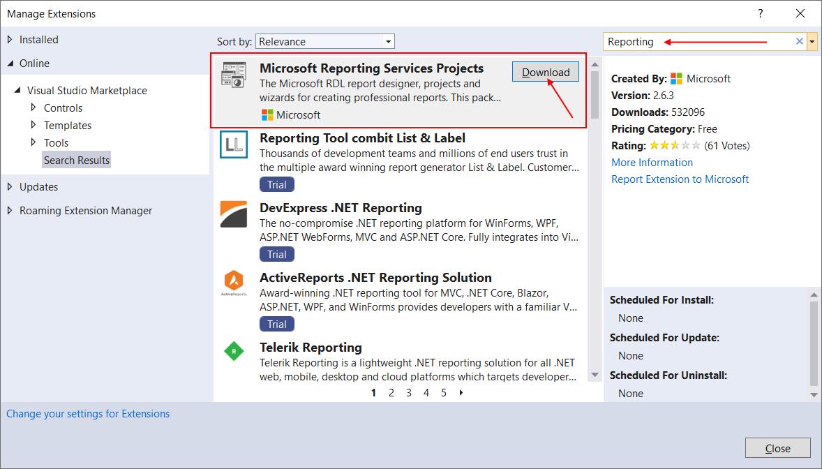 """Чтобы выбрать требуемое расширение из всего того мусора, что нам не нужен, введите в поле поиска """"Reporting"""", выберите """"Microsoft Reporting Services Projects"""" и нажмите на кнопке """"Download"""""""