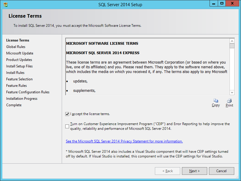Install SQL Server Express 2014 With Advanced Services - шаг 2