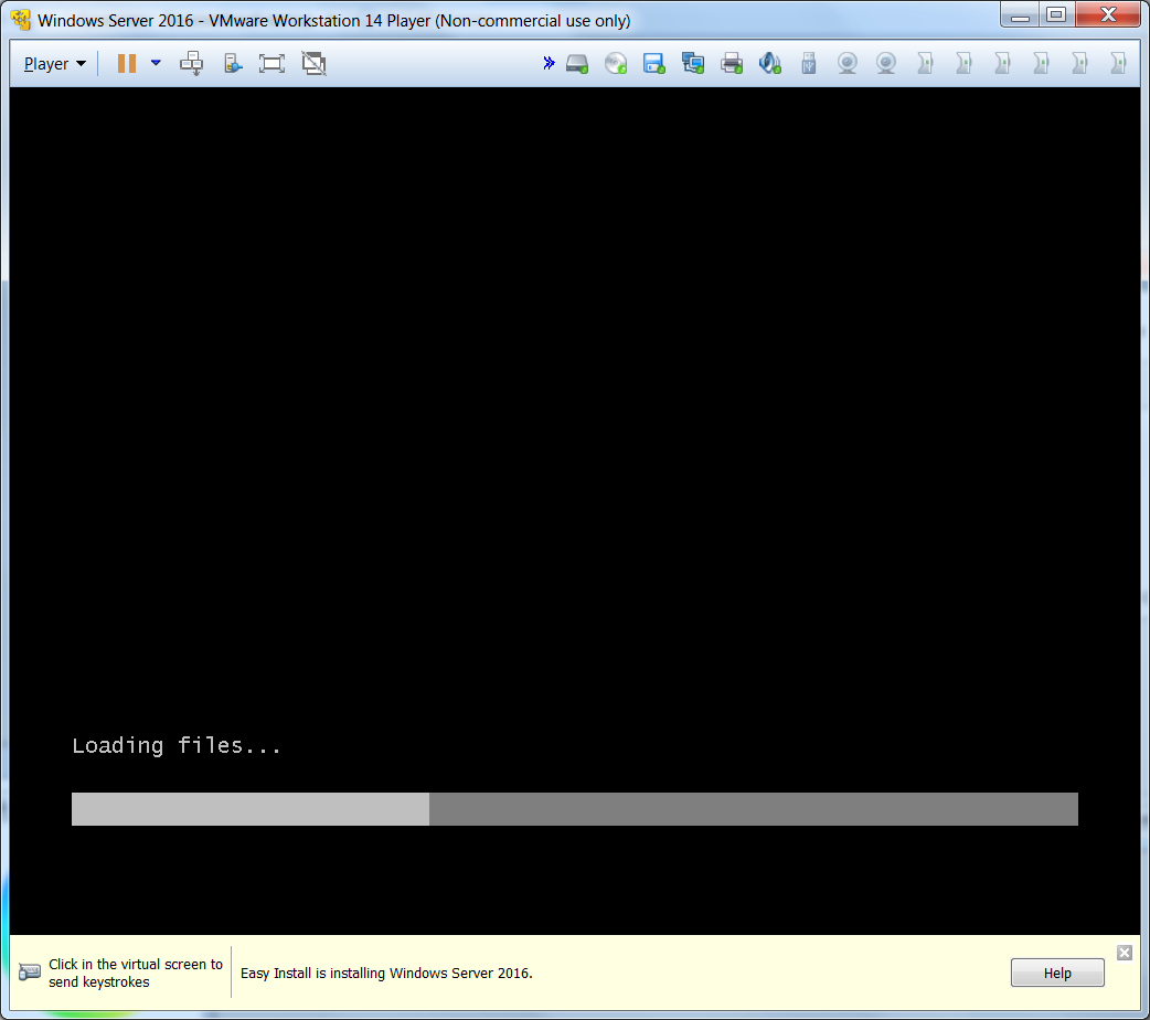 После этого должна быть создана виртуальная машина и начаться процесс установки Windows Server'а, однако, на этот раз всё идёт не так