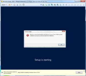 Install Windows Server 2016 on VM Ware Player