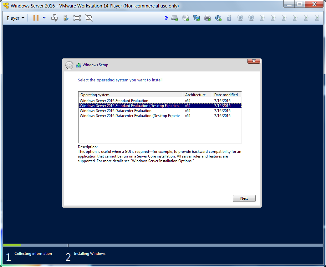 На следующем этапе внимательно прочитайте описание. Я рекомендую опции 2 или 4, т.к. 1 и 3 - это установка без графической оболочки. Я первоначально не посмотрел внимательно и получил установленный сервер с командной строкой, пришлось вспомнить молодость и в DOS режиме вызывать setup повторно