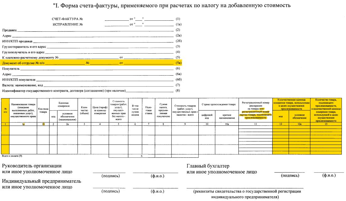 Новая форма счёта-фактуры (с 01.07.2021)