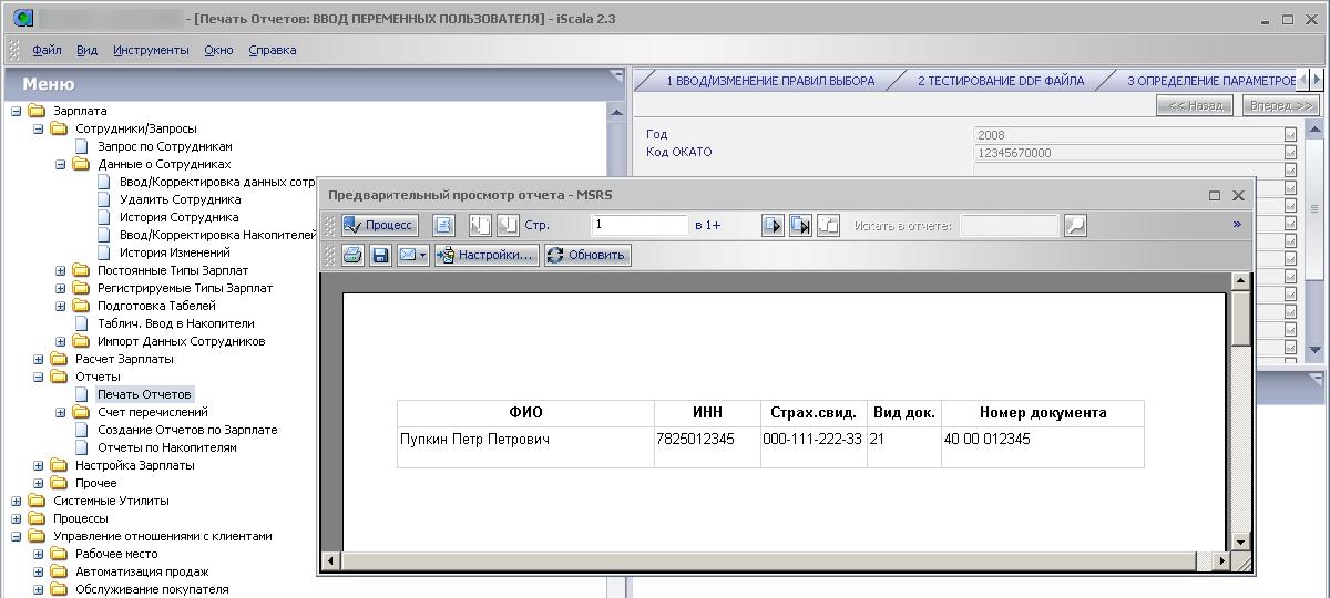 """Печать профессионального отчёта из модуля """"Заработная плата"""" на канал MSRS"""
