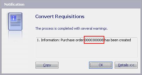 Заказ на закупку создан на основе требования