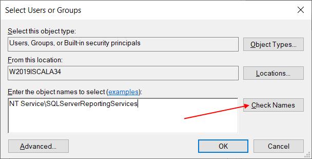 """В появившемся окне добавьте пользователя. Имя пользователя зависит от версии SQL Server'а. Если это версия от 2016, пользователь называется """"ReportServer"""", а начиная с 2017 года пользователь называется SQLServerReportingServices"""