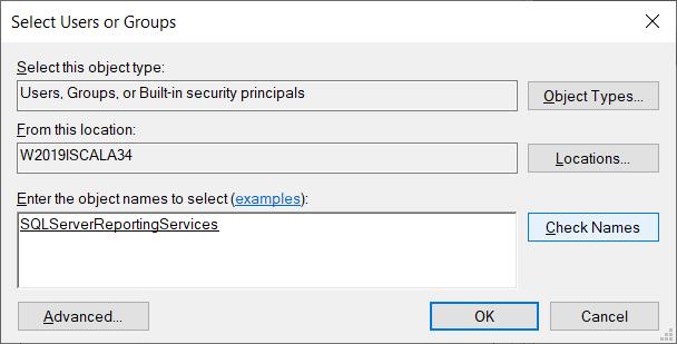 Именно так как на картинке выше: NT Service\SQLServerReportingServices, а после того, как нажмёте кнопку Check Names, это станет выглядеть следующим образом