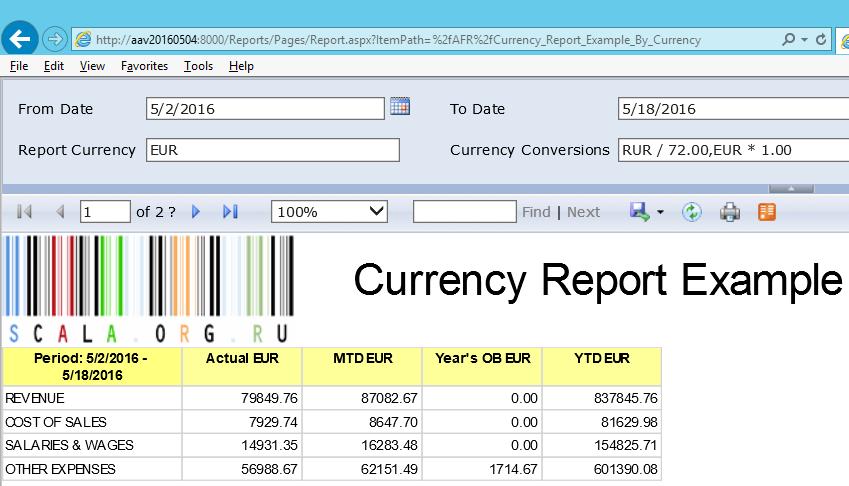 Отчёт AFR в разных валютах с пересчётом по фиксированному курсу - Евро