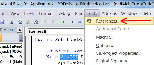 """Чтобы поменять ссылку на объект нужно перейти в режим редактирования VBA кода (используйте комбинацию клавиш Alt+F11). Перейдите на закладку """"Tools->References..."""""""