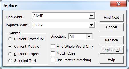Теперь можно контекстной заменой поменять SfwIII на iScala в коде VBA