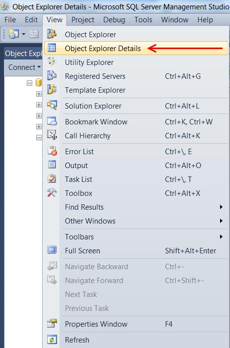 """Иногда при входе на SQL сервер окно подробностей выключено, чтобы его открыть проделайте следующие действия: выберите """"View->Object Explorer Details"""""""