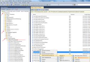 """Далее последовательно раскройте папки """"Databases"""", название требуемой базы данных, например, """"scalaDB1"""", внутри неё """"Programmability"""" и нажмите на папку """"Stored Procedures"""""""
