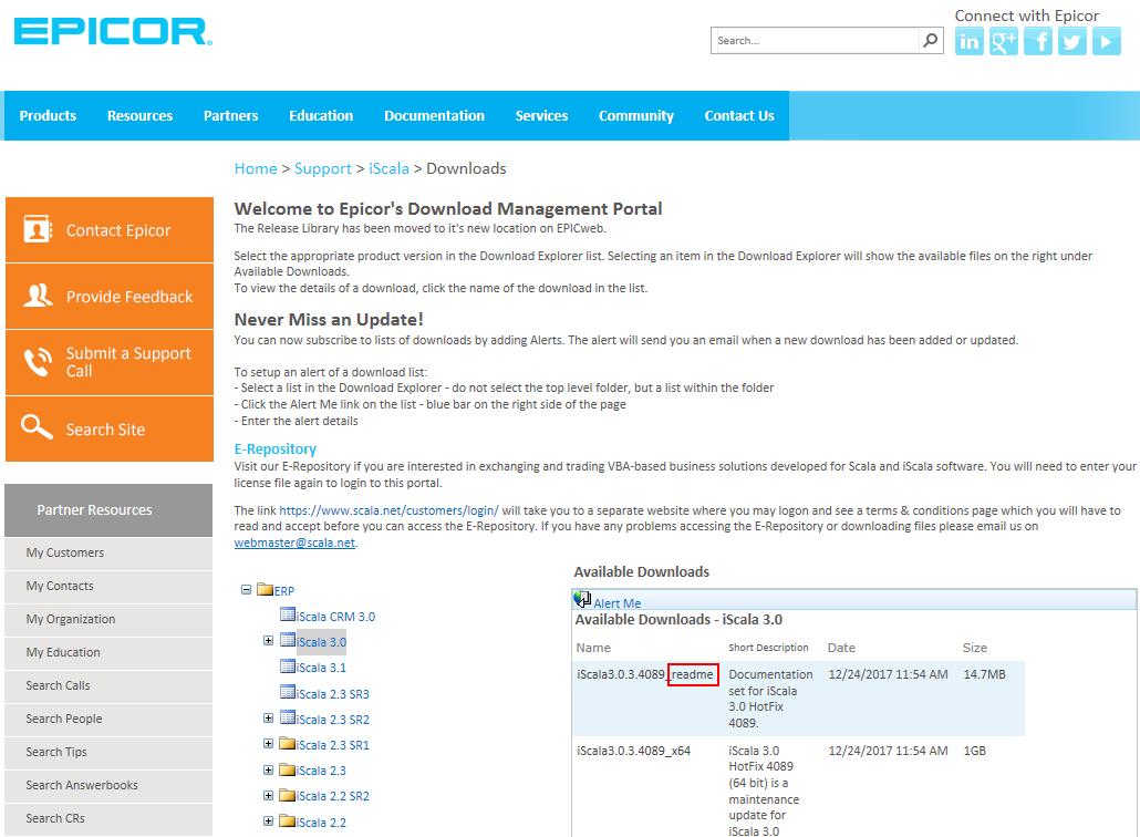 Файлы с инструкциями по установке и настройке iScala на сайте Epicor