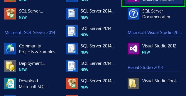 SQL Server Data Tools for Visual Studio 2013 в списке устанновленных программ