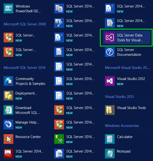 SQL Server Data Tools for Visual Studio 2013 в списке устанновленных программ