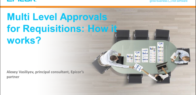 Multi Level Approvals for Requisitions: How it works? Alexey Vasiliyev, principal consultant, Epicor's partner
