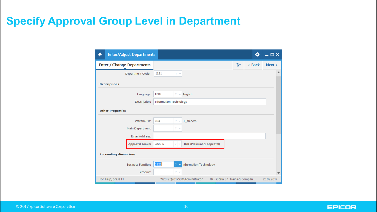 Specify Approval Group Level in Department