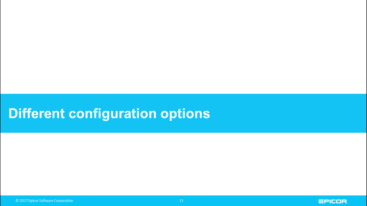 Different configuration options