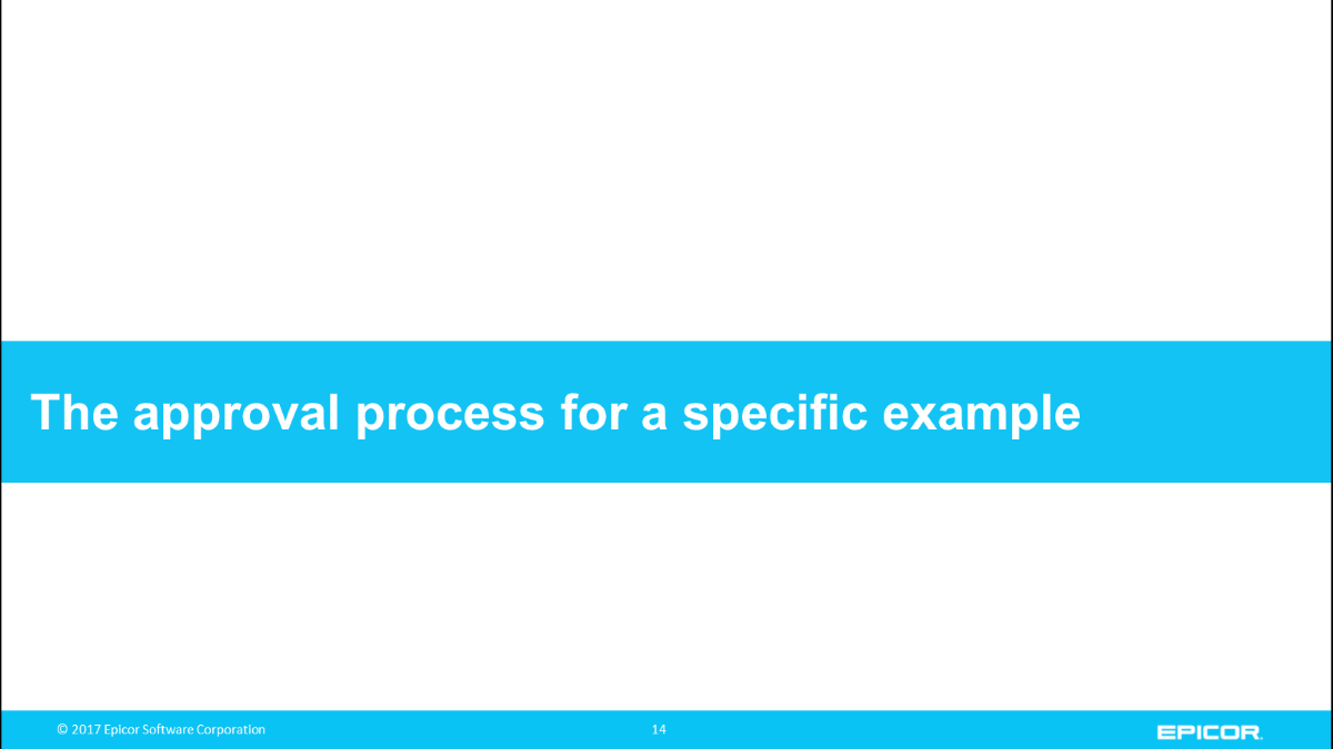 The approval process for a specific example