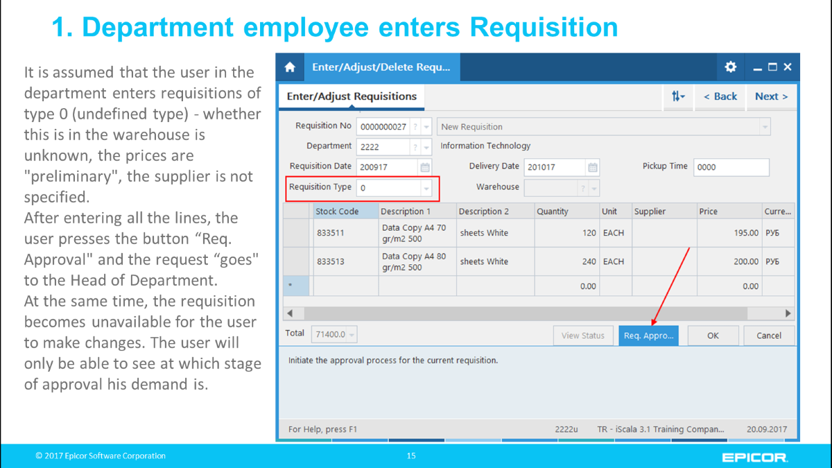 "1. Department employee enters Requisition: It is assumed that the user in the department enters requisitions of type 0 (undefined type) - whether this is in the warehouse is unknown, the prices are ""preliminary"", the supplier is not specified; After entering all the lines, the user presses the button ""Req. Approval"" and the request ""goes"" to the Head of Department.At the same time, the requisition becomes unavailable for the user to make changes. The user will only be able to see at which stage of approval his demand is"