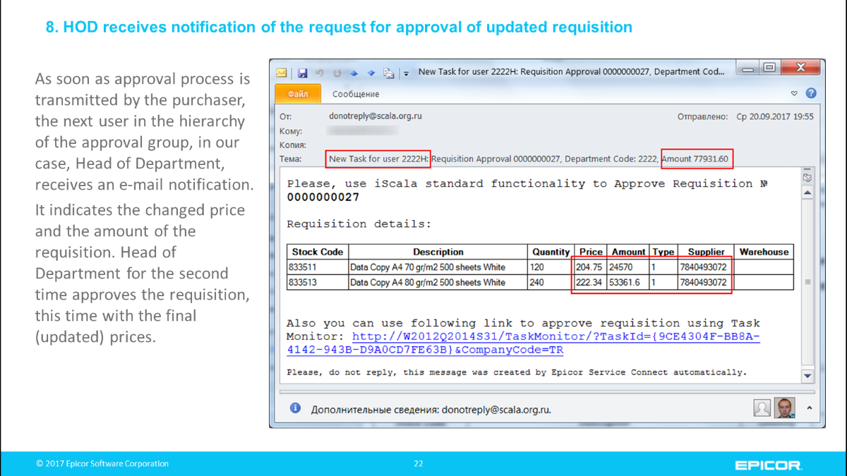 HOD receives notification of the request for approval of updated requisition: As soon as approval process is transmitted by the purchaser, the next user in the hierarchy of the approval group, in our case, Head of Department, receives an e-mail notification. It indicates the changed price and the amount of the requisition. Head of Department for the second time approves the requisition, this time with the final (updated) prices