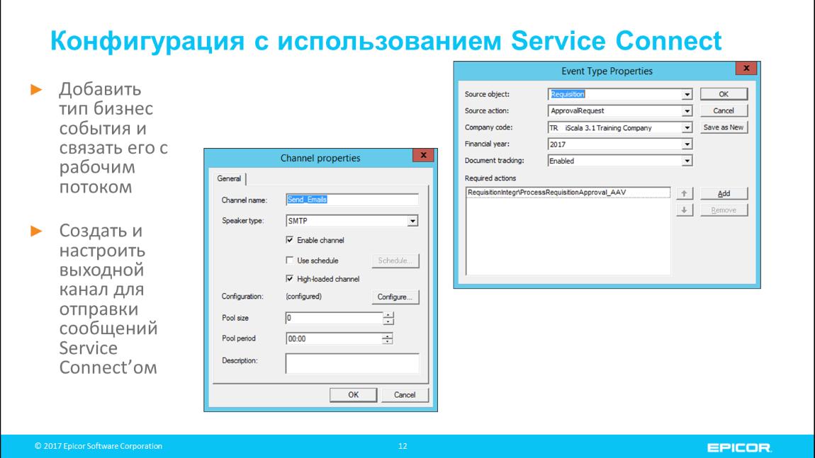 Конфигурация с использованием Service Connect: Добавить тип бизнес события и связать его с рабочим потоком; Создать и настроить выходной канал для отправки сообщений Service Connect'ом
