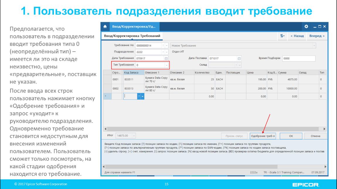 1. Пользователь подразделения вводит требование: Предполагается, что пользователь в подразделении вводит требования типа 0 (неопределённый тип) – имеется ли это на складе неизвестно, цены «предварительные», поставщик не указан. После ввода всех строк пользователь нажимает кнопку «Одобрение требования» и запрос «уходит» к руководителю подразделения. Одновременно требование становится недоступным для внесения изменений пользователем. Пользователь сможет только посмотреть, на какой стадии одобрения находится его требование.