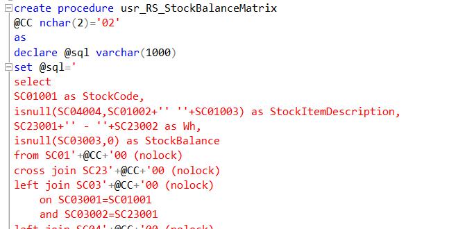 Создание хранимой процедуры usr_RS_StockBalanceMatrix
