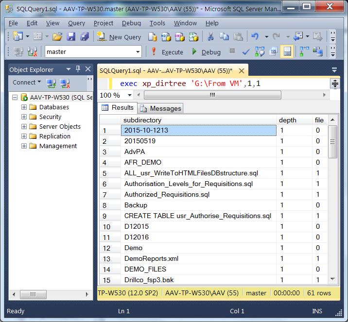 Как с помощью T-SQL прочитать список файлов в выбранной папке и отфильтровать нужные?